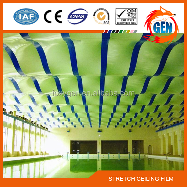 Project shrinkable textile stretch ceiling fabric for indoor decor with 15-year warranty for swimming pools