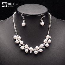 BLHS0118 supply vintage luxury zirconia main pearl fashoin jewelry set