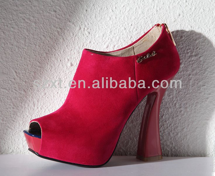 Fashion red high heel peep toe short boots for women