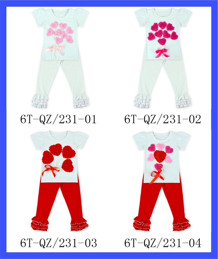 Baby Girls Boutique Clothes Set White & Red Cotton Outfits Valentines Day Cute Clothing Set