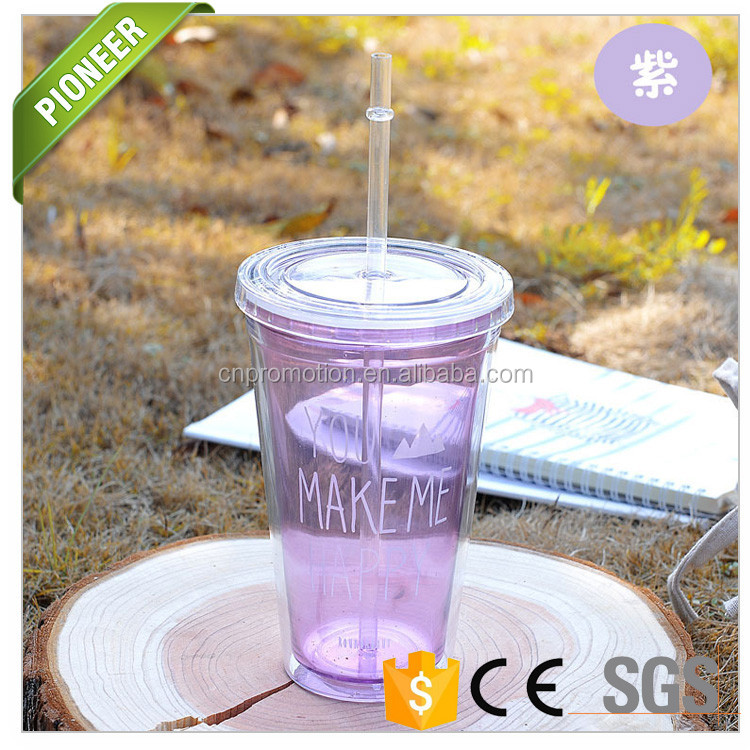 Alibaba top selling customized logo plastic cup with straw