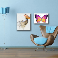 Hotel decoration dog and butterfly animal designs fabric canvas art painting