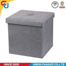 modern monochrome polyester foldable storage ottoman for room
