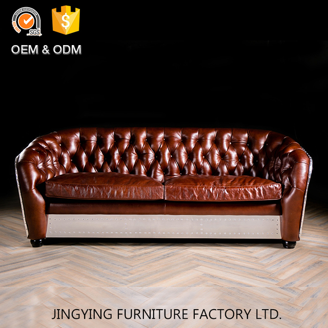 Home Furniture Vintage Two Seat Leather Chesterfield Sofa