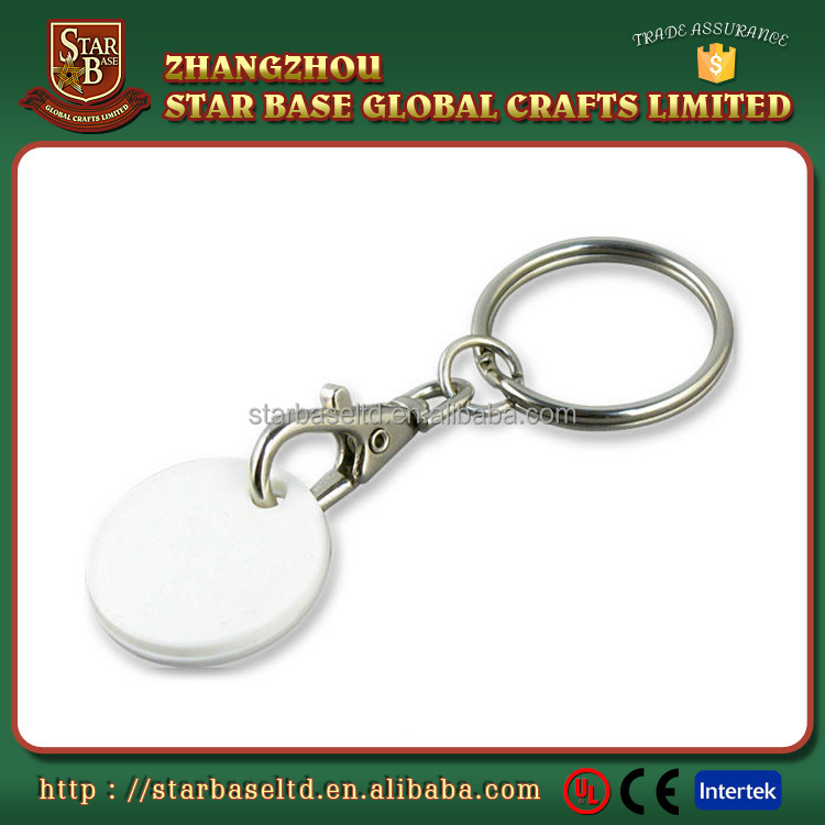 Supermarket use premium quality plastic trolley coins custom