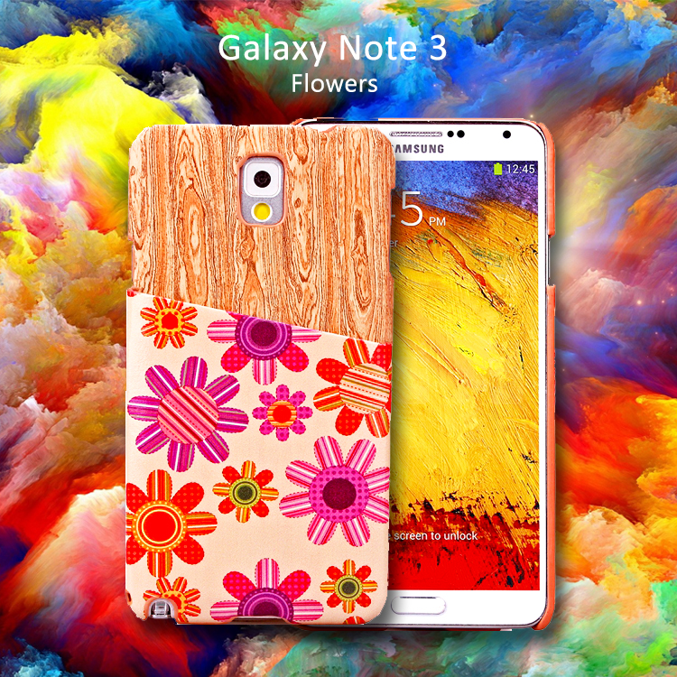 Wooden Pattern&Ballons Card Slot Hard Back Case for Samsung Note 3 Case Card Galaxy