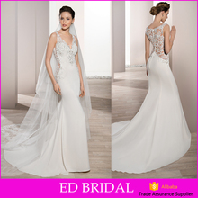 Fish Style V Neckline Appliques Transparent Back Fitted Sexy Wedding Dress For Mature Bride