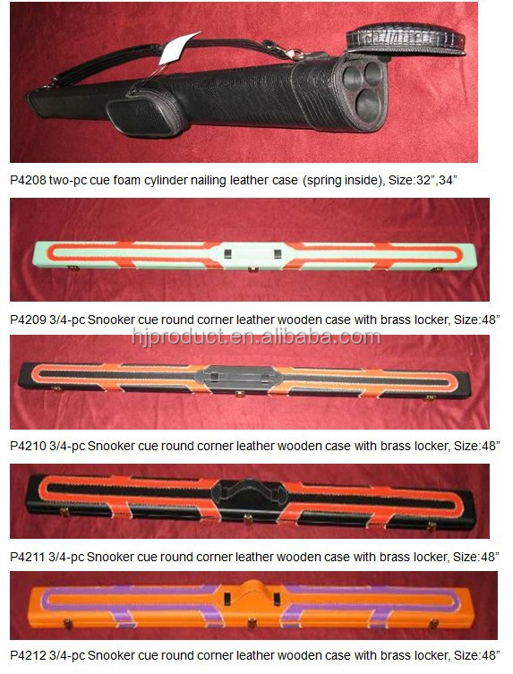 "customtwo-pc cue foam cylinder nailing leather case (spring inside),32""34"" billiard cue case"