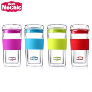 Mochic Heat resistant glass beer mug / glass travel mug / silicone coffee cup