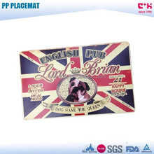 BPA free English flag/cartoon dog printed 3D PP frosted placemat/dinning table mat