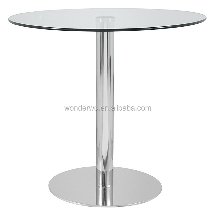 Restaurant Furniture Modern Cheap Glass Top Round Dining Table With Stainless