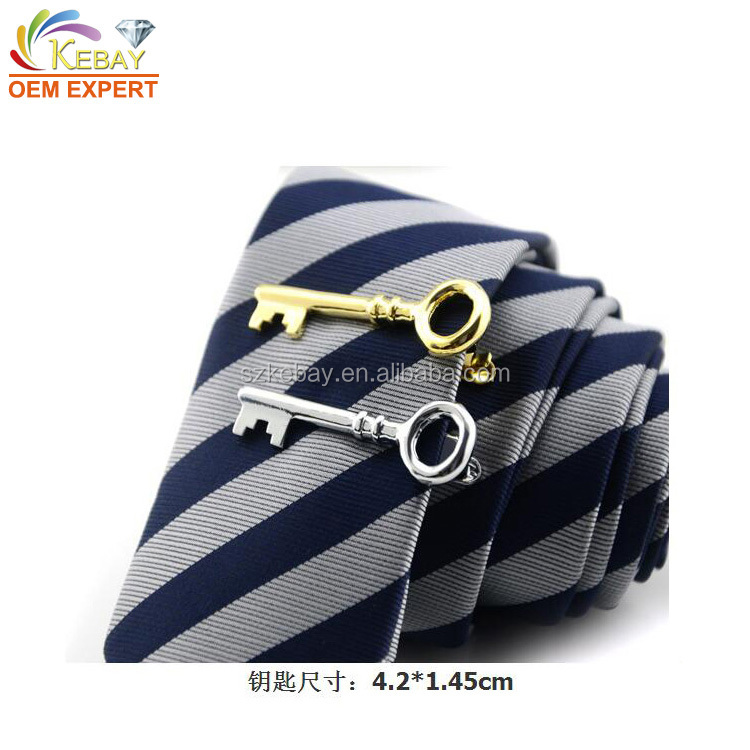 Funny key shaped cool blank magnetic tie clips wholesale