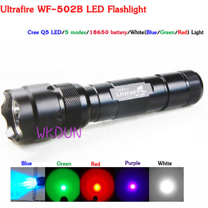 Ultrafire WF-502B Cree Q5 LED 5 Modes Red Light 3W Hunting 18650 LED Flashlight Torch