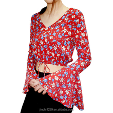 fashion woven long sleeve ladies summer blouses