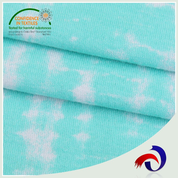 Plastic 240gsm blue white spandex printed viscose fabric made in China