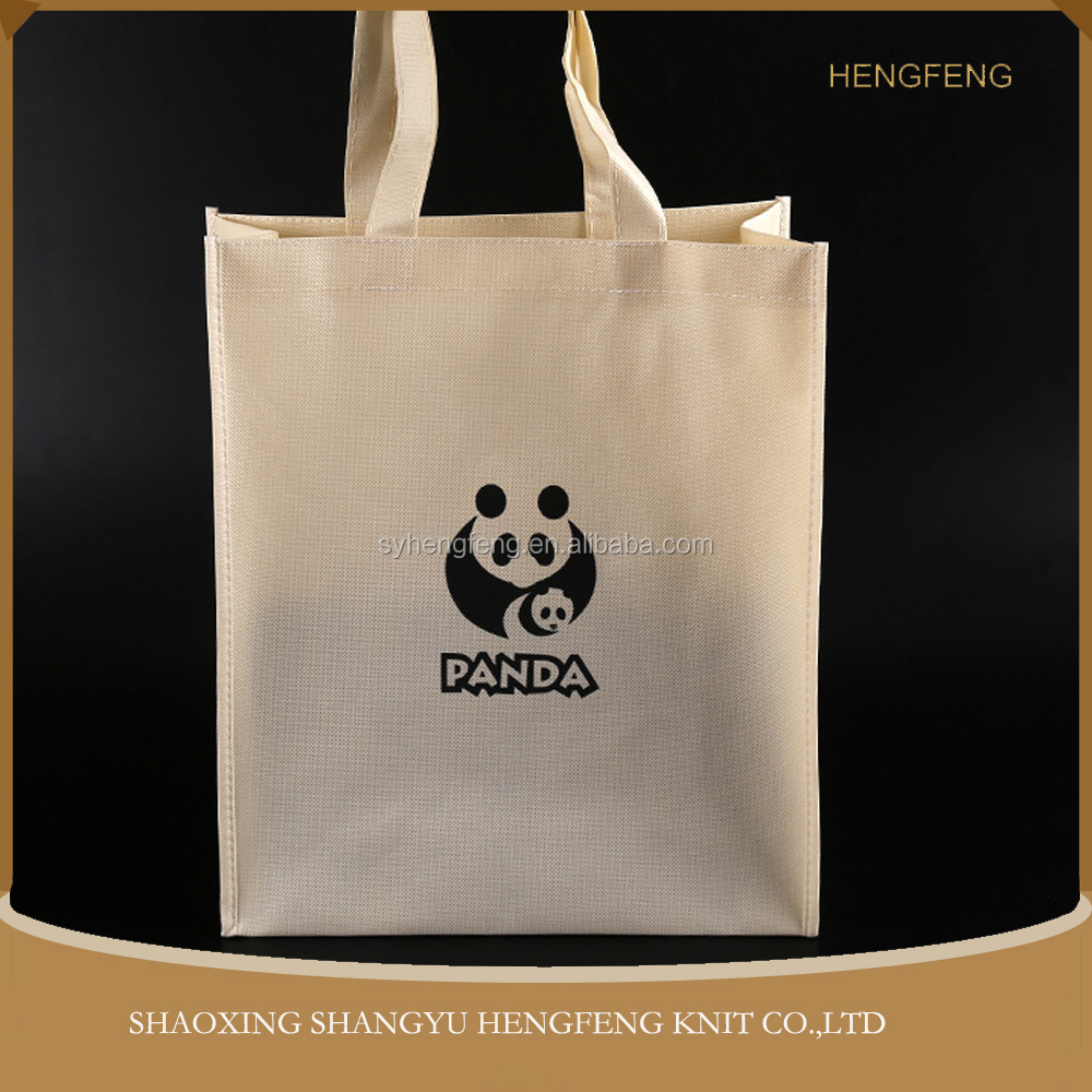Wholesale Eco- friendly fabrics film covering panda non woven reusable shopping bag with handle
