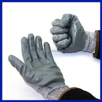 2015 Rough Palm Knit Wrist Nitrile Coated Electrical Safety Hand Gloves