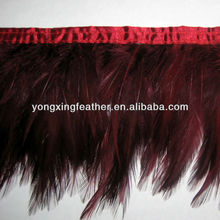 wine red feather decoration