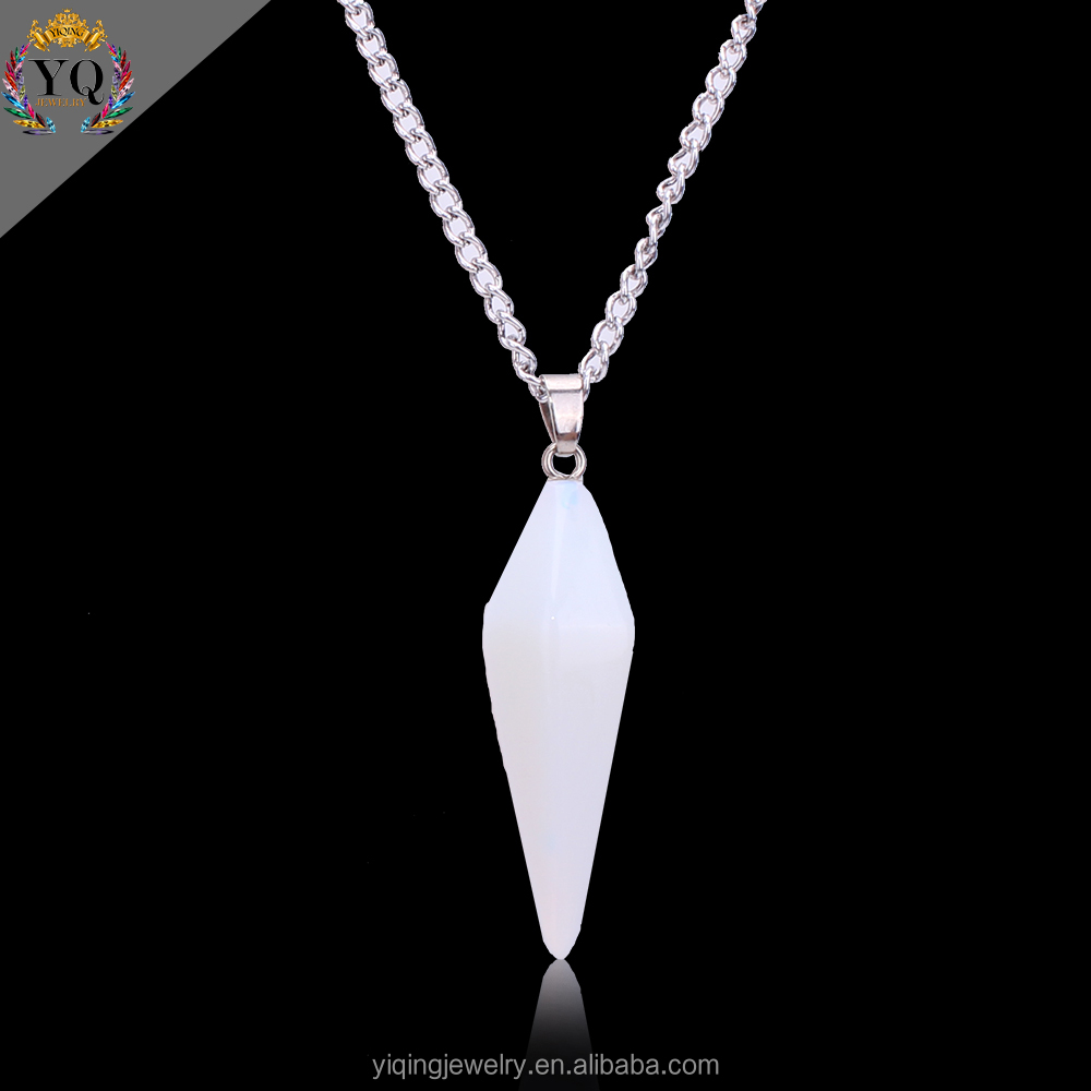 PYQ-00068 long chain simple design opal stone pendant necklace
