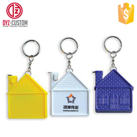 Custom printed plastic house shaped steel tape measuring keychain