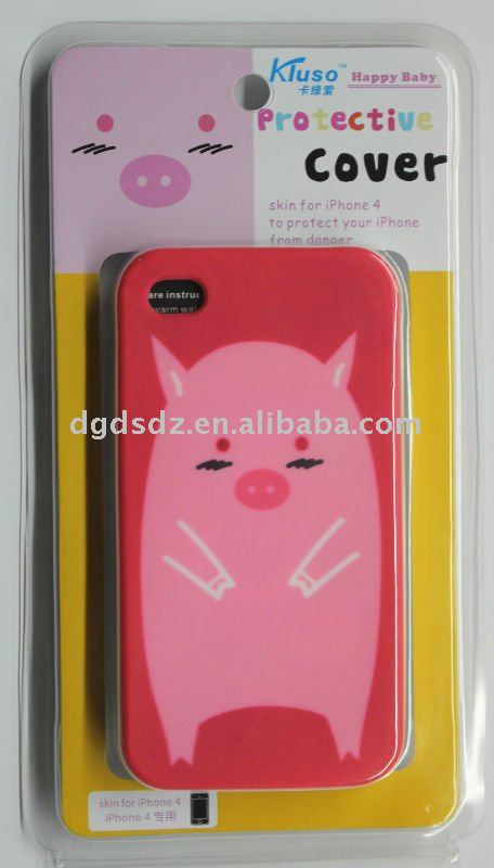 silicone mobile phone case for iphone 4 with blister package