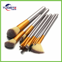 2017hot sale 12pcs per set nylon oval toothbrush shape make up brush for cosmetic and foundation brush