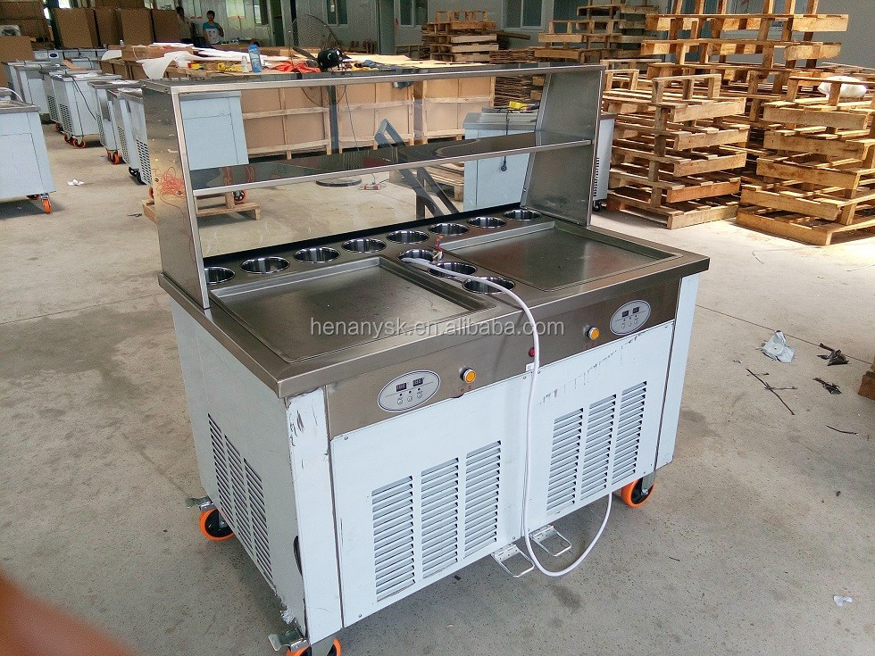 45CM * 2 Pan 11 Tank Ice Cream Fryer Roller Machine With Glass and Shelves Shelvings
