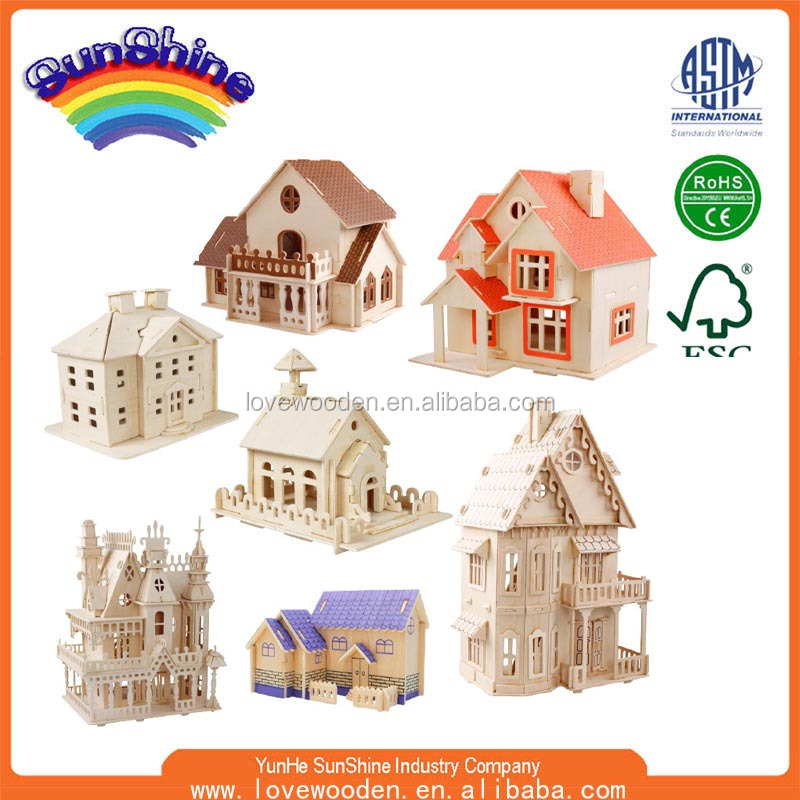 2016 OEM Anemal Wooden Educational Toys 3d Puzzle Woodcraft 3D Wooden Puzzle Wooden Puzzle ESMZ-4055