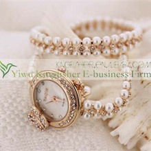 Royal luxury women crystal rhinestone chains pearl wrist watches, lady hand chains wrist watch
