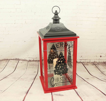 ML-2136 Christmas Decoration Christmas tree pattern Wooden Lantern with metal top