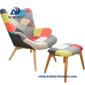 Single Fabric Seat Patchwork Wooden Modern Leisure Bedroom Single Sofa Chair