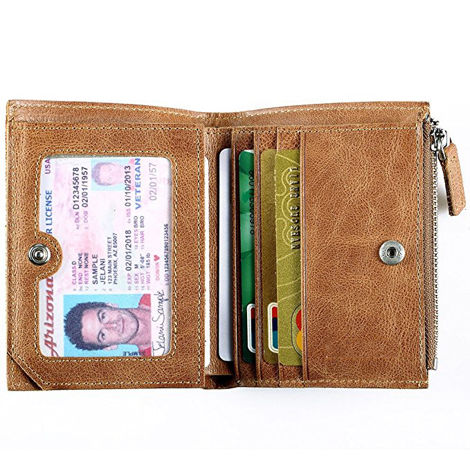 RFID Vintage Blocking Genuine Leather Trifold Wallets for Men's/Women's Credit Card Protector Purse