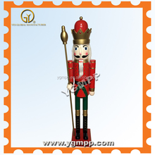 "YGM-K03 71"" Wooden classical nutcracker king with scepter for seasonal holiday decorative"