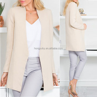 Beige color classical design long sleeve OEM blazer women
