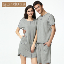 Hot Selling Qianxiu Summer Short Sleeves Comfort Cotton Couples Nightwear