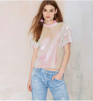 New look fashion cheap bulk 100% cotton Guangdong Custom sequin full print pink t shirts