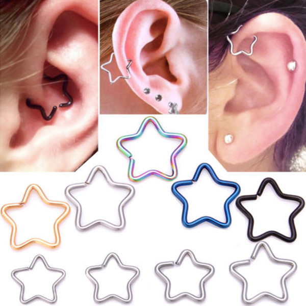 2017 women best selling stainless steel ear tragus tunnel cartilage jewelry