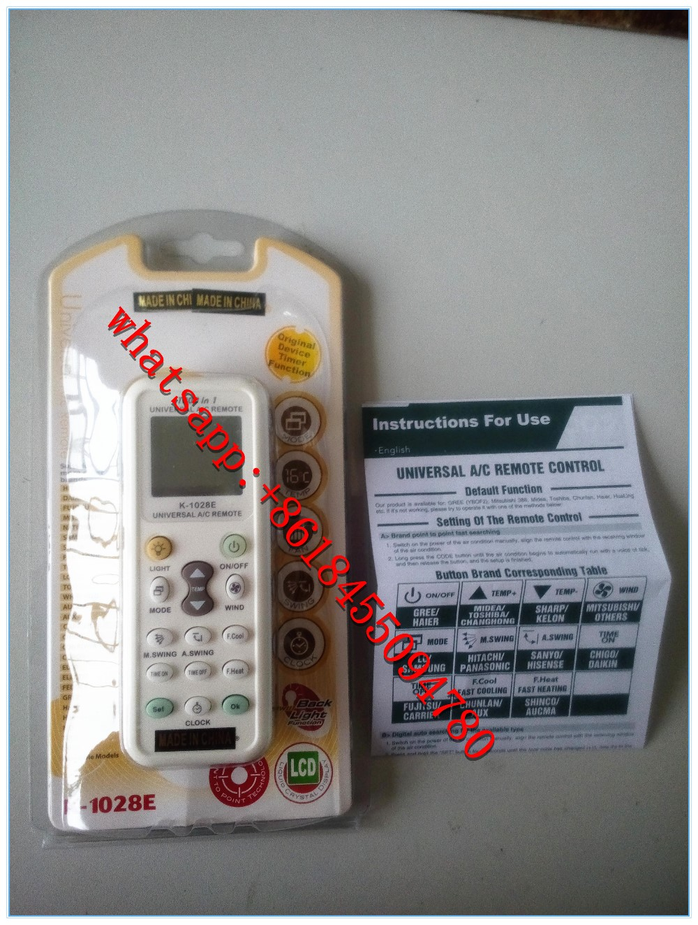 universal air condition remote control A/C remote k-1028 kt-1028e 1000 in 1