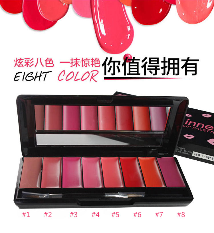 2018 Wholesale Hot 8 colors lip gloss cream palette Make your own lip gloss lipstick