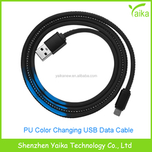 Yaika New Products PU Leather USB Data Charging Cable Thermal Color Changing for iPhone Android Type C Devices