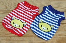 pet clothes dog apparel bear printed stripe T-shirt for puppy dog