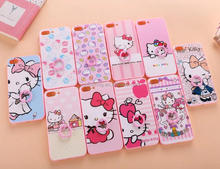 Cartoon ring stand case back cover for iPhone 6 6 plus, Kitty ring cover for iPhone 7 7 Plus