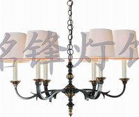 American style 6-lite antique brass chandelier with a simple design good for hotel or home or villa