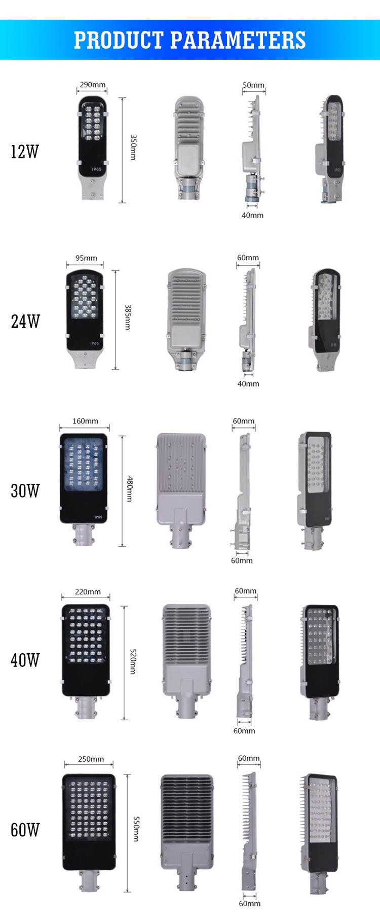 Factory cheapest price Outdoor waterproof IP65 12w 24w 30w 40w 60w 80w 100w 120w 150w COB led street light with Lens CE ROHS