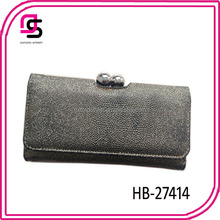 2014 silver PU wristlet pouch magnetic flap opens wallet to import