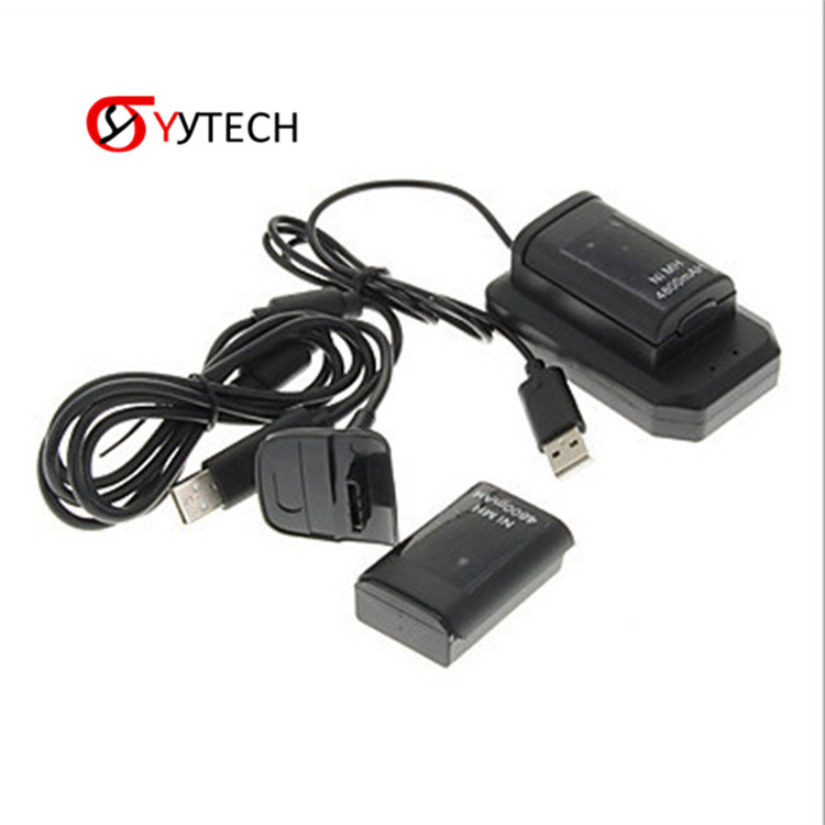 SYYTECH 3 in 1 Wireless <strong>Controller</strong> 2 Batteries+1 Charger+1 Usb Cable Charging Kit For Xbox 360 4800mAh Battery Pack