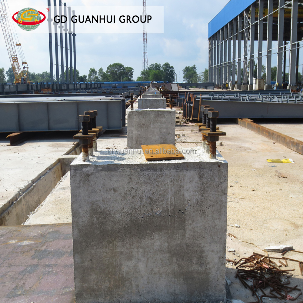 Cast on site concrete foundation steel structure from China