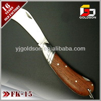 folding curve blade wood handle knife with button