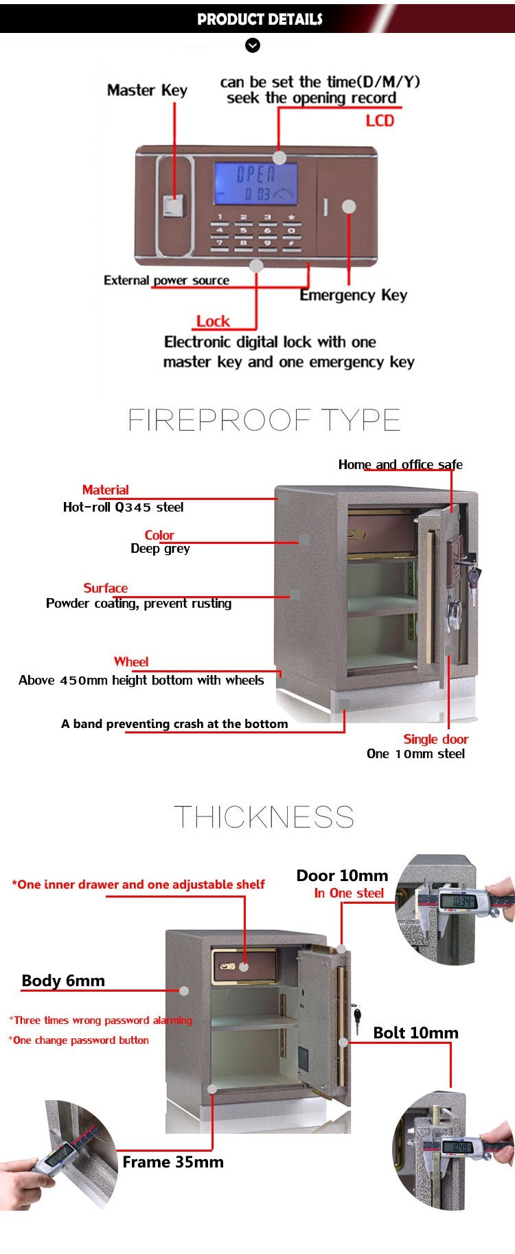 High security electronic fireproof jewelry money safe box for home