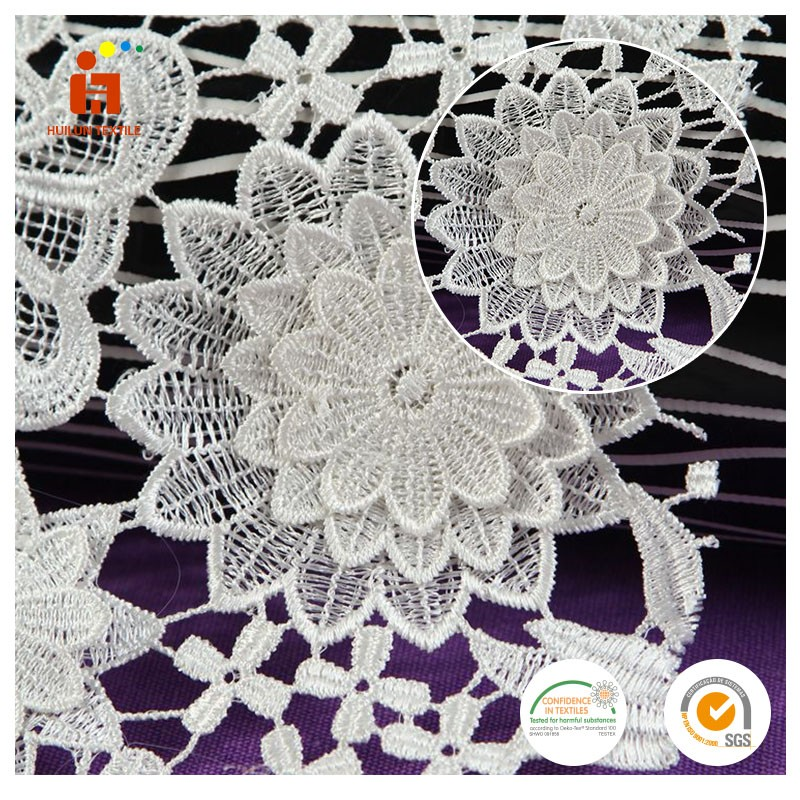 Dentelle dubai 2016 white dyed small floral pattern embroidery italian dentelle lace fabric for evening dress